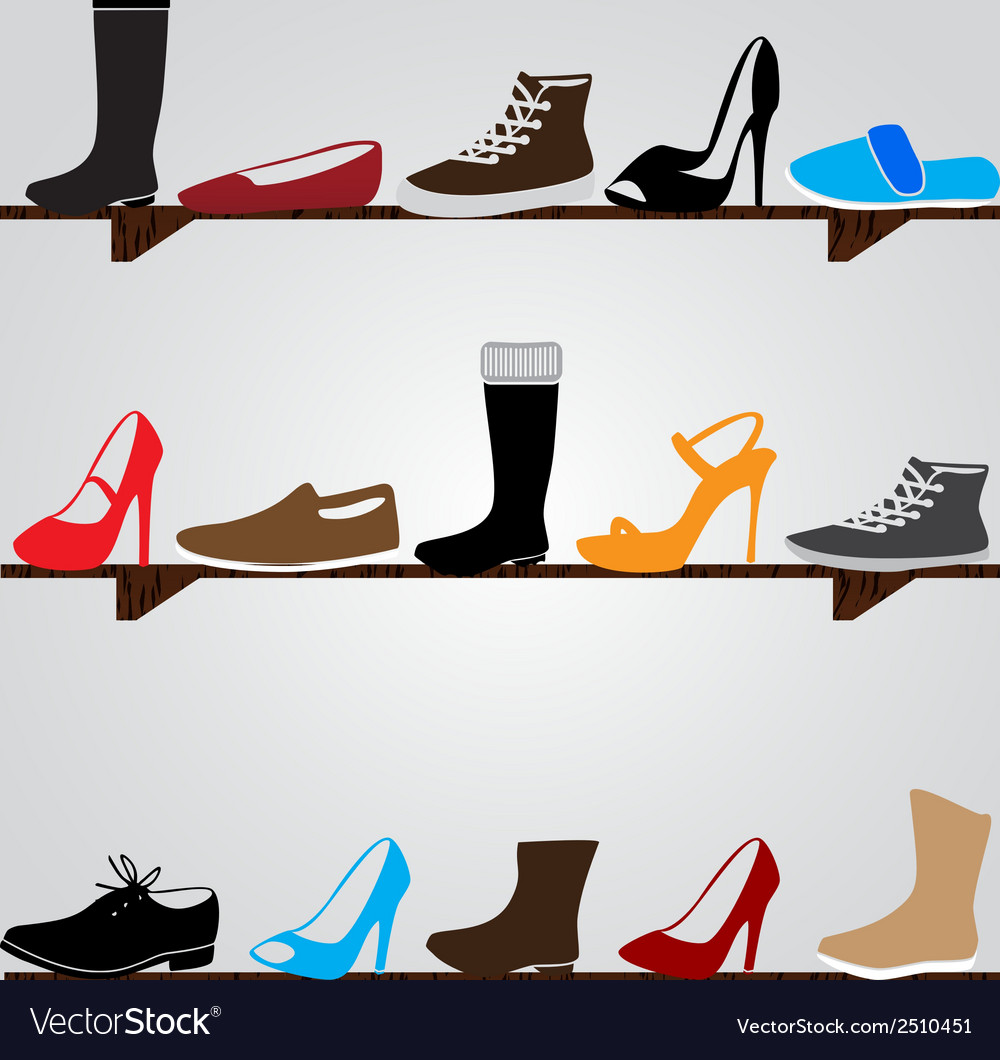 Color boots on shelf eps10 vector | Price: 1 Credit (USD $1)