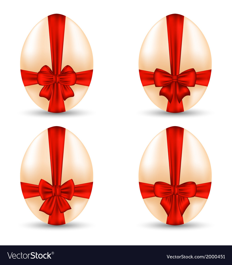 Easter set celebration egg wrapping red bow for vector | Price: 1 Credit (USD $1)