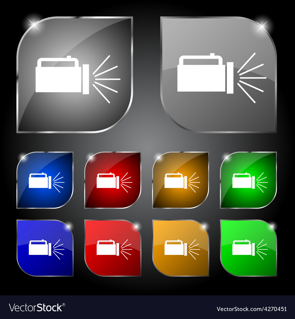 Flashlight icon sign set of ten colorful buttons vector | Price: 1 Credit (USD $1)