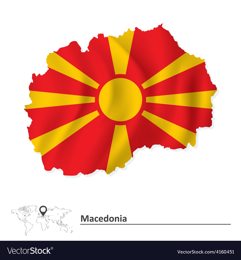 Map of macedonia with flag vector | Price: 1 Credit (USD $1)