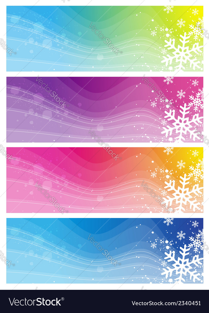 Modern banners with snowflakes vector | Price: 1 Credit (USD $1)