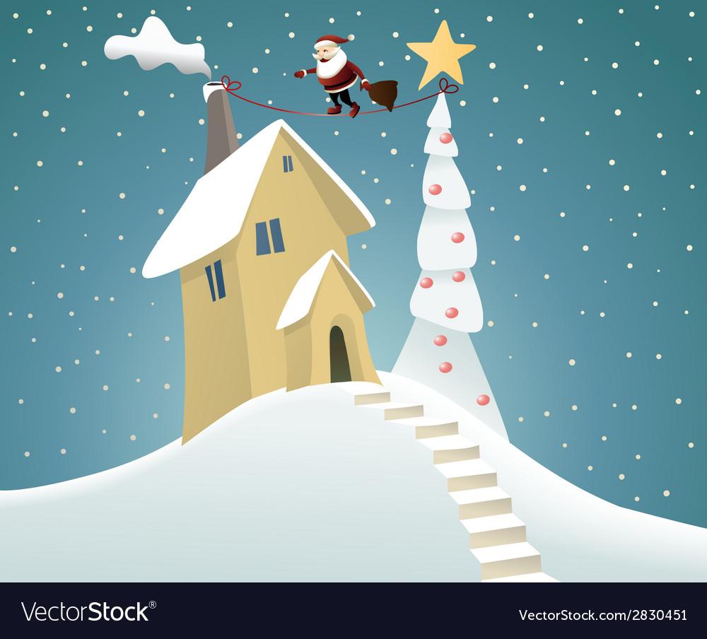 Santa claus delivering gifts vector | Price: 3 Credit (USD $3)