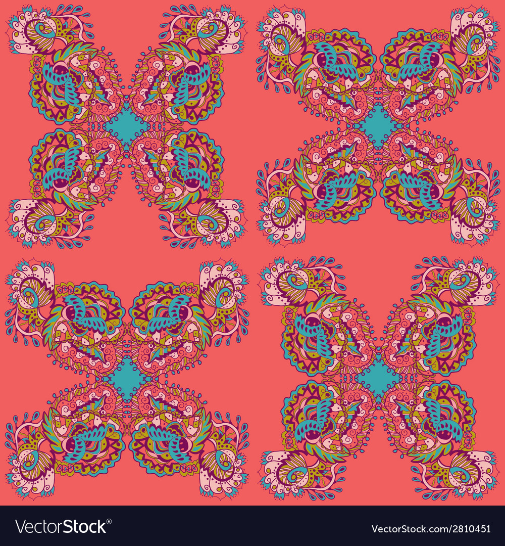 Seamless texture with abstract flowers vector | Price: 1 Credit (USD $1)