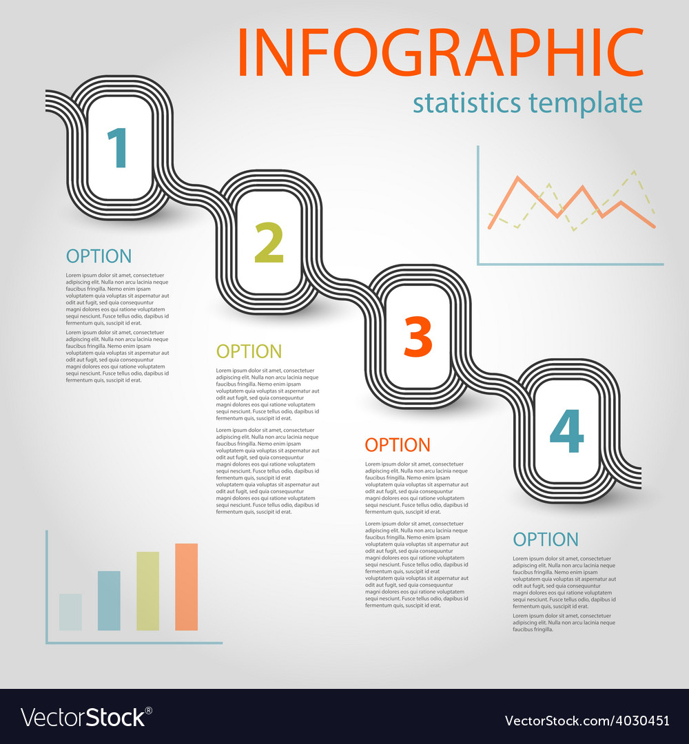 Striped infographic chain four steps vector   Price: 1 Credit (USD $1)