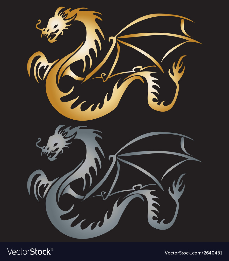 Stylised gole dragon vector | Price: 1 Credit (USD $1)