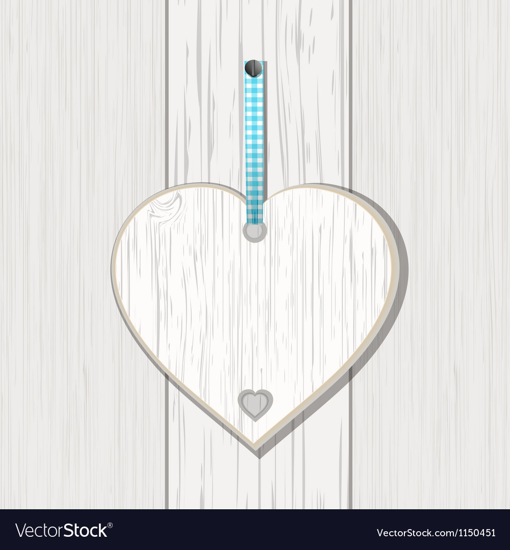 Wooden heart sign on white wood vector | Price: 1 Credit (USD $1)