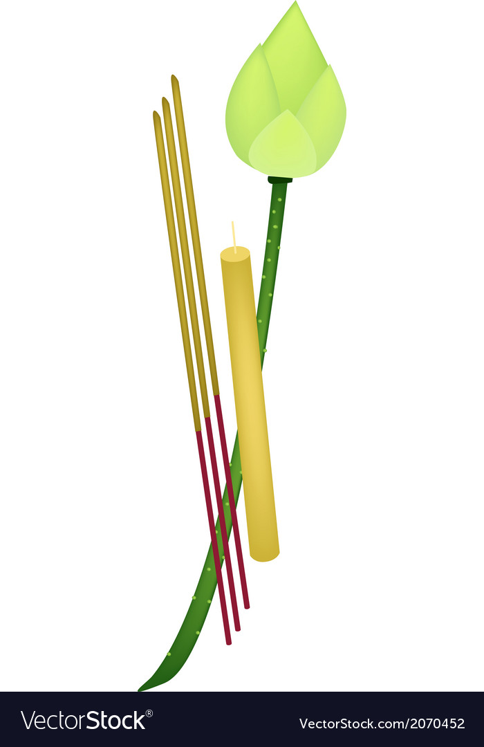 Fresh lotus with joss sticks and candle vector | Price: 1 Credit (USD $1)