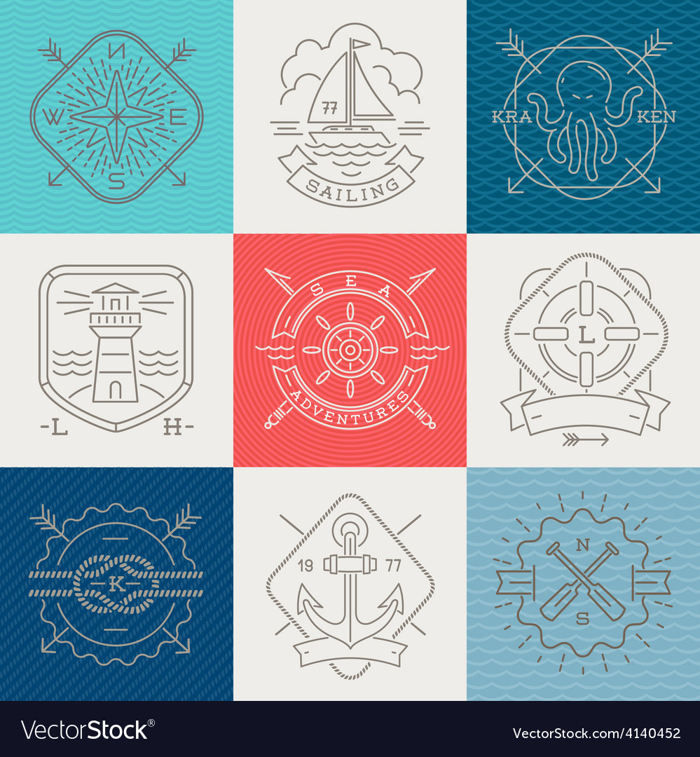 Nauticaladventures and travel emblems and signs vector | Price: 1 Credit (USD $1)