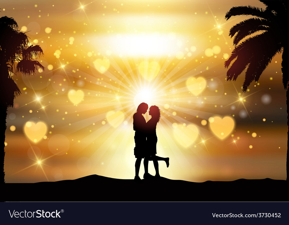 Romantic couple against a sunset sky vector | Price: 1 Credit (USD $1)