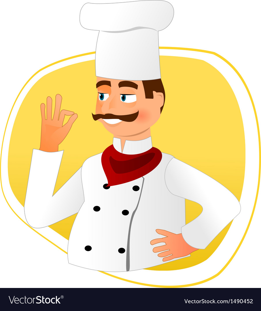 Smiling chef with mustache vector | Price: 1 Credit (USD $1)