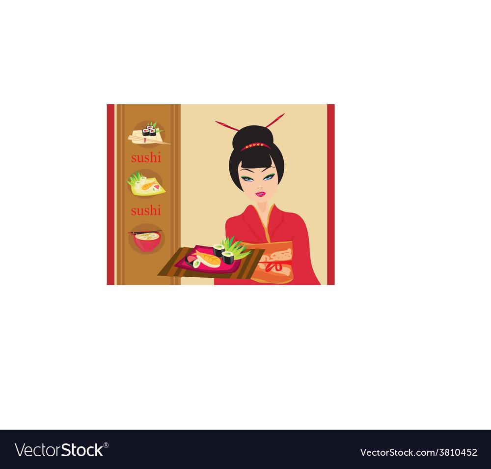 Sweet asian girl enjoy sushi - menu card vector | Price: 1 Credit (USD $1)