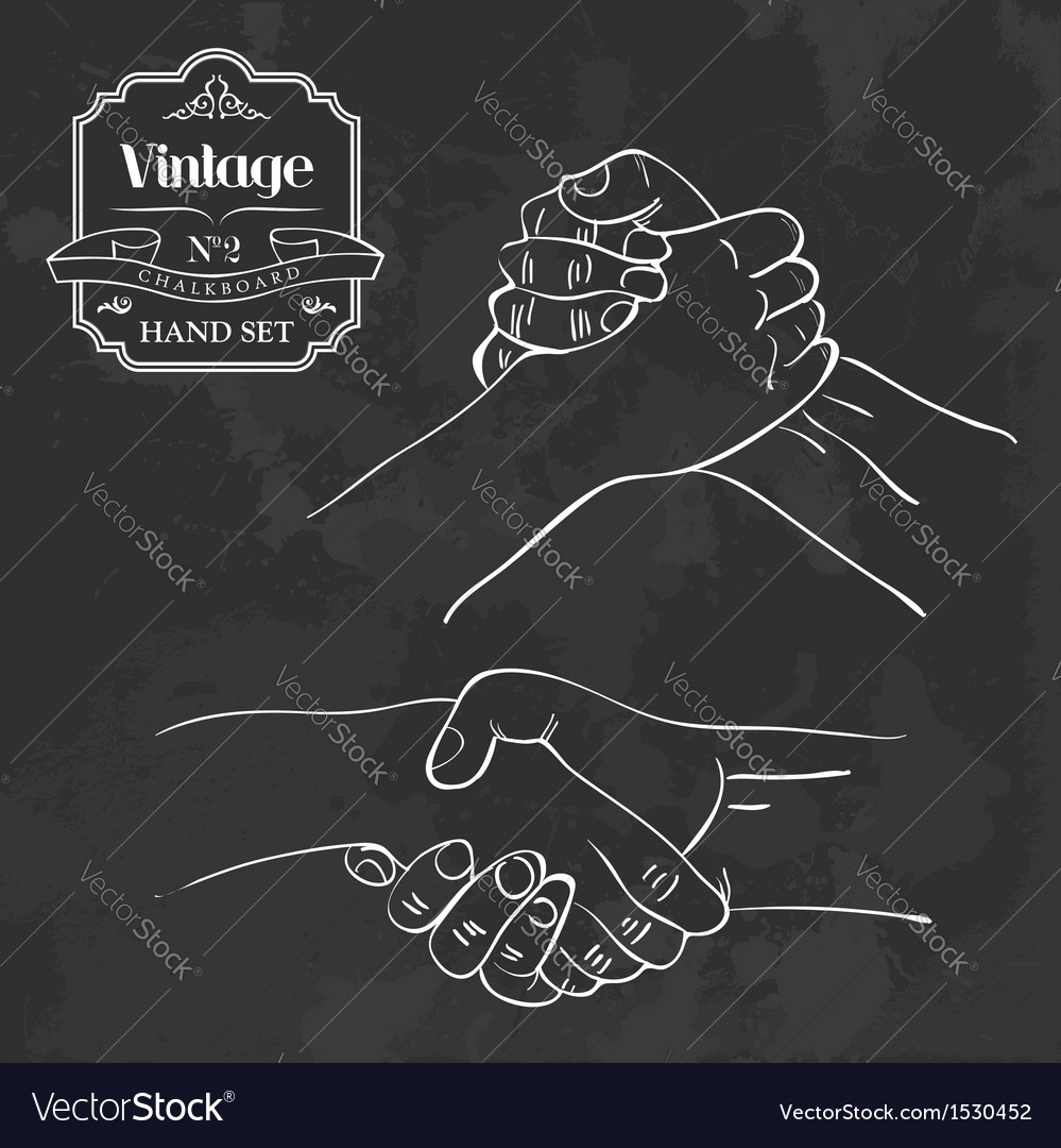 Vintage chalkboard hand shake vector | Price: 1 Credit (USD $1)