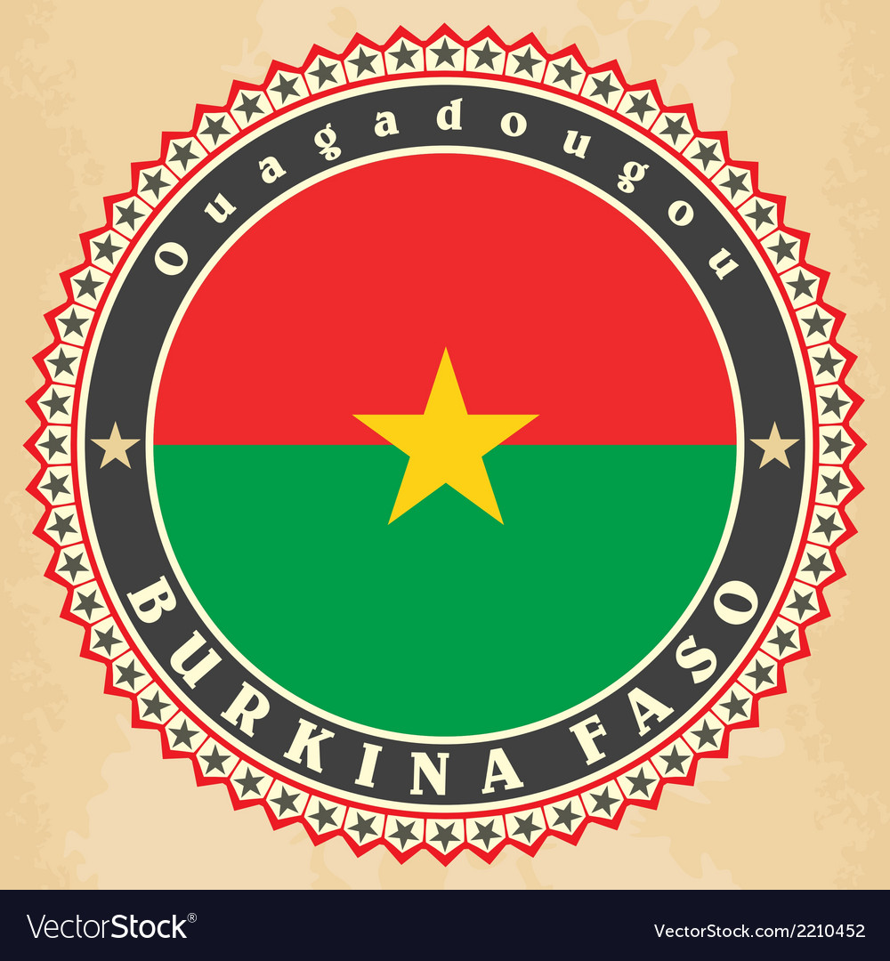Vintage label cards of burkina faso flag vector | Price: 1 Credit (USD $1)