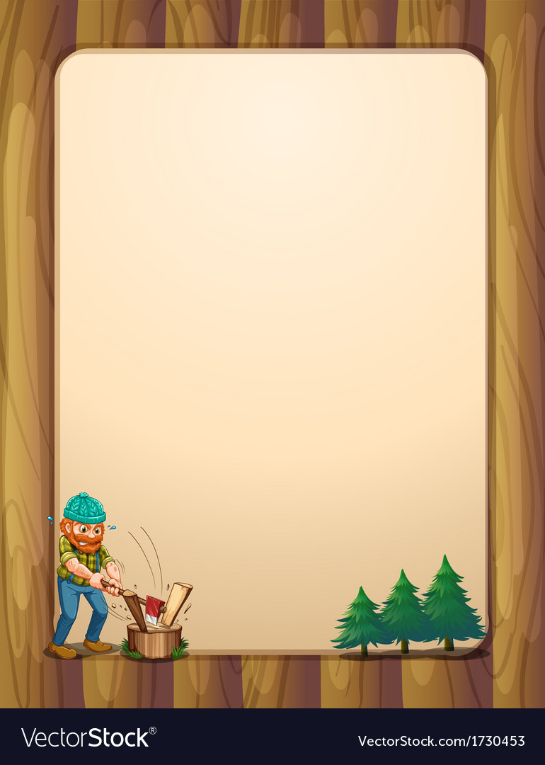 A busy lumberjack in front of the empty wooden vector | Price: 1 Credit (USD $1)
