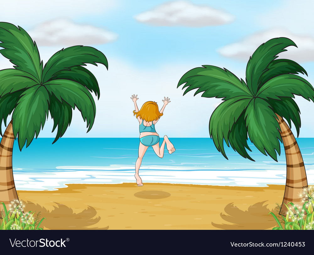 A girl enjoying the summer at the beach vector | Price: 1 Credit (USD $1)