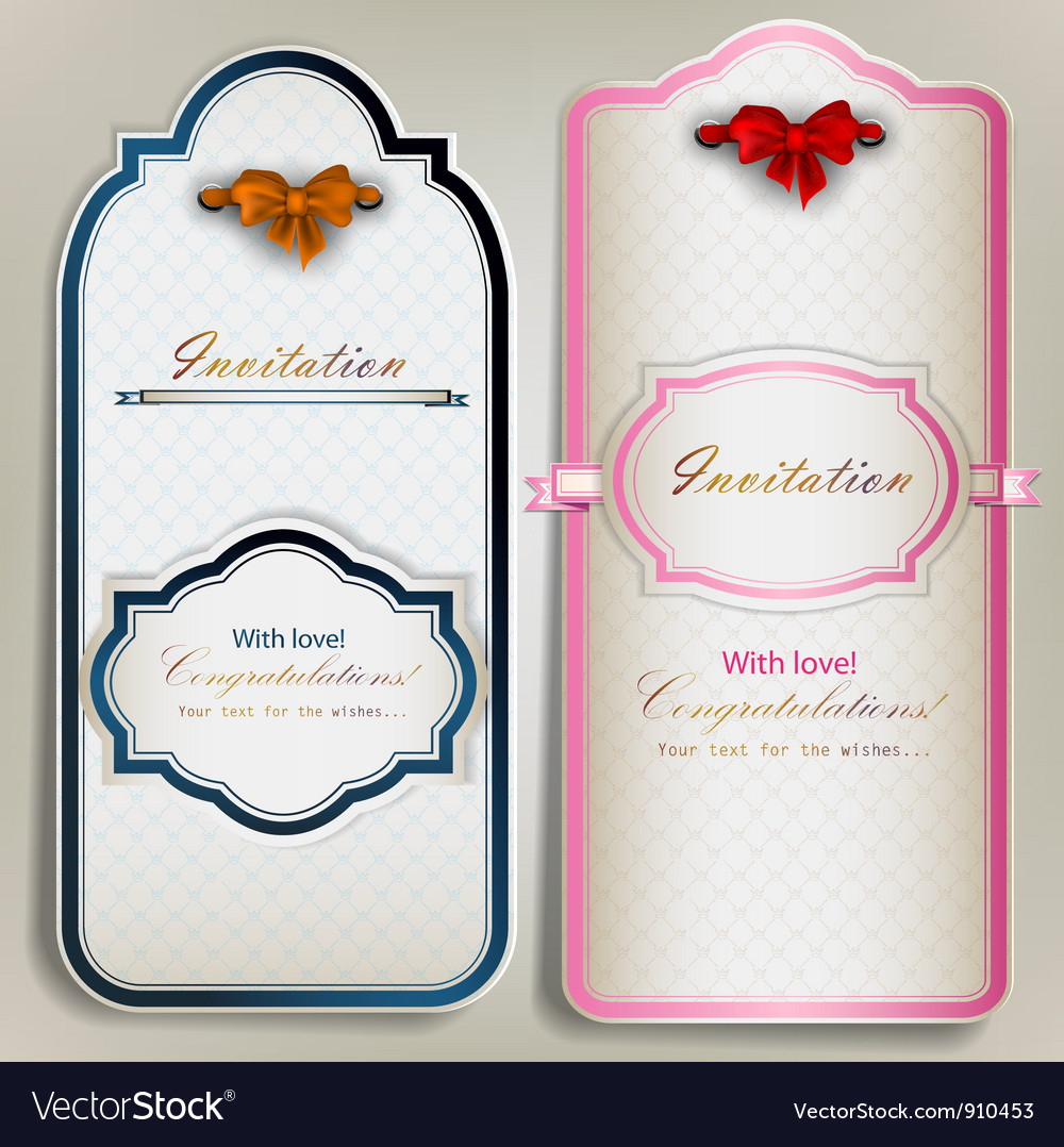 Card notes with ribbons vintage invitations vector   Price: 1 Credit (USD $1)