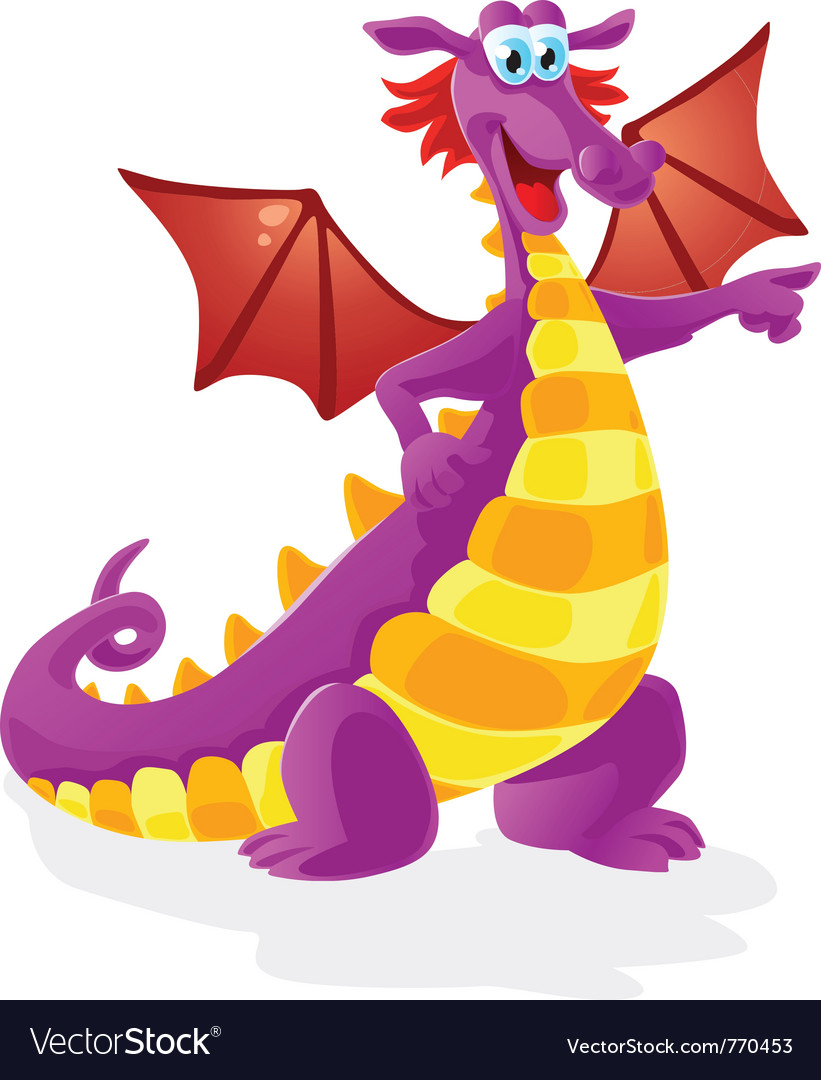 Dragon cartoon character isolated vector | Price: 3 Credit (USD $3)