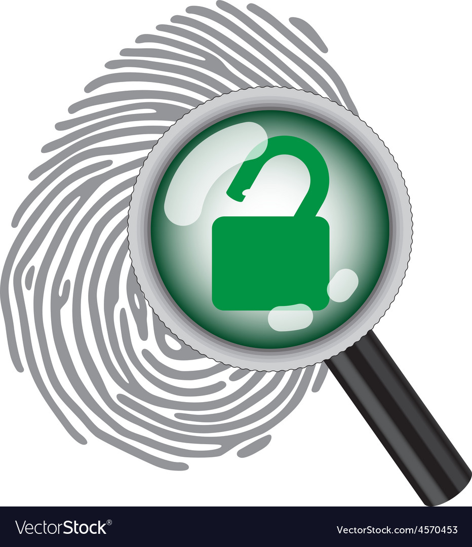 Finger print with magnifying glass vector | Price: 1 Credit (USD $1)