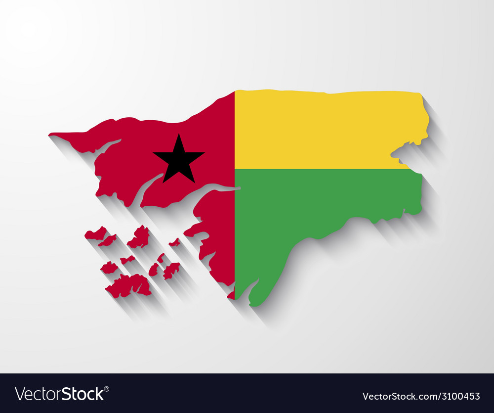 Guinea-bissau country map with shadow effect vector | Price: 1 Credit (USD $1)
