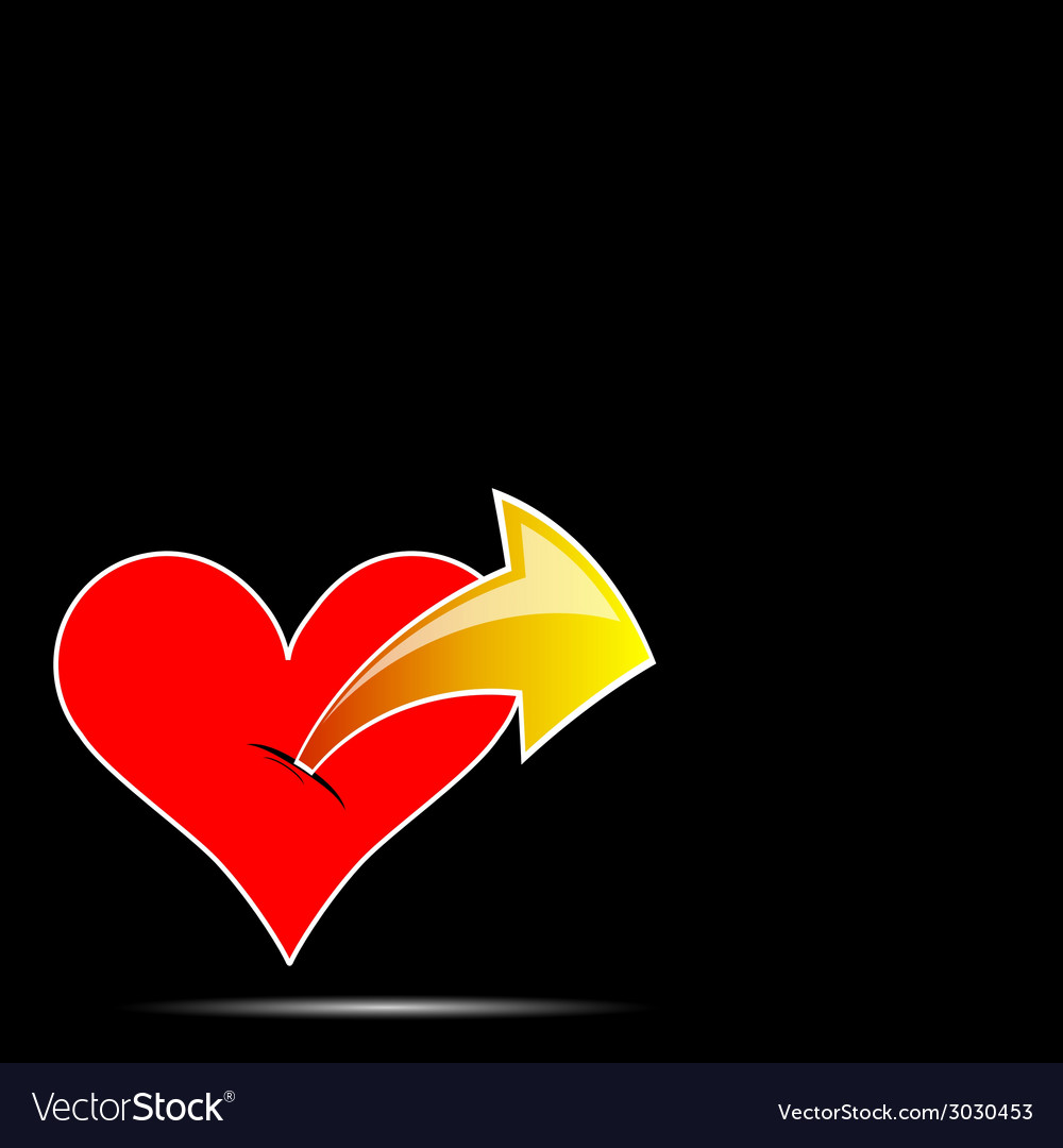 Heart with arrow color vector | Price: 1 Credit (USD $1)