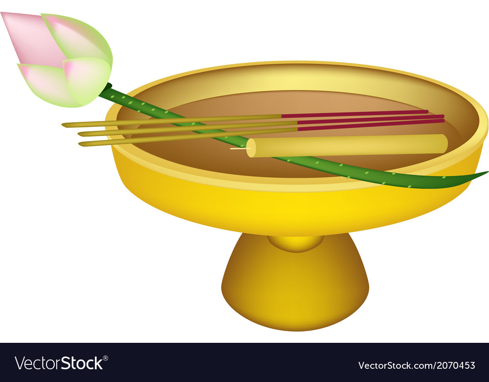 Lotus with joss sticks and candle on golden tray vector | Price: 1 Credit (USD $1)