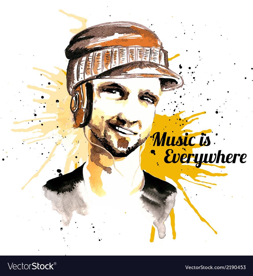 Man ink hipster headphones vector | Price: 1 Credit (USD $1)