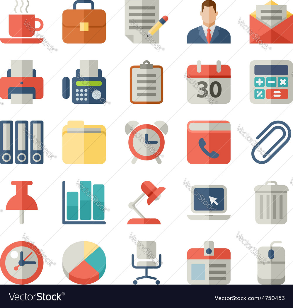 Office and business flat icons for web mobile vector | Price: 1 Credit (USD $1)