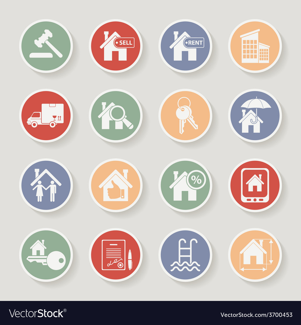 Real estate round icon set vector | Price: 1 Credit (USD $1)