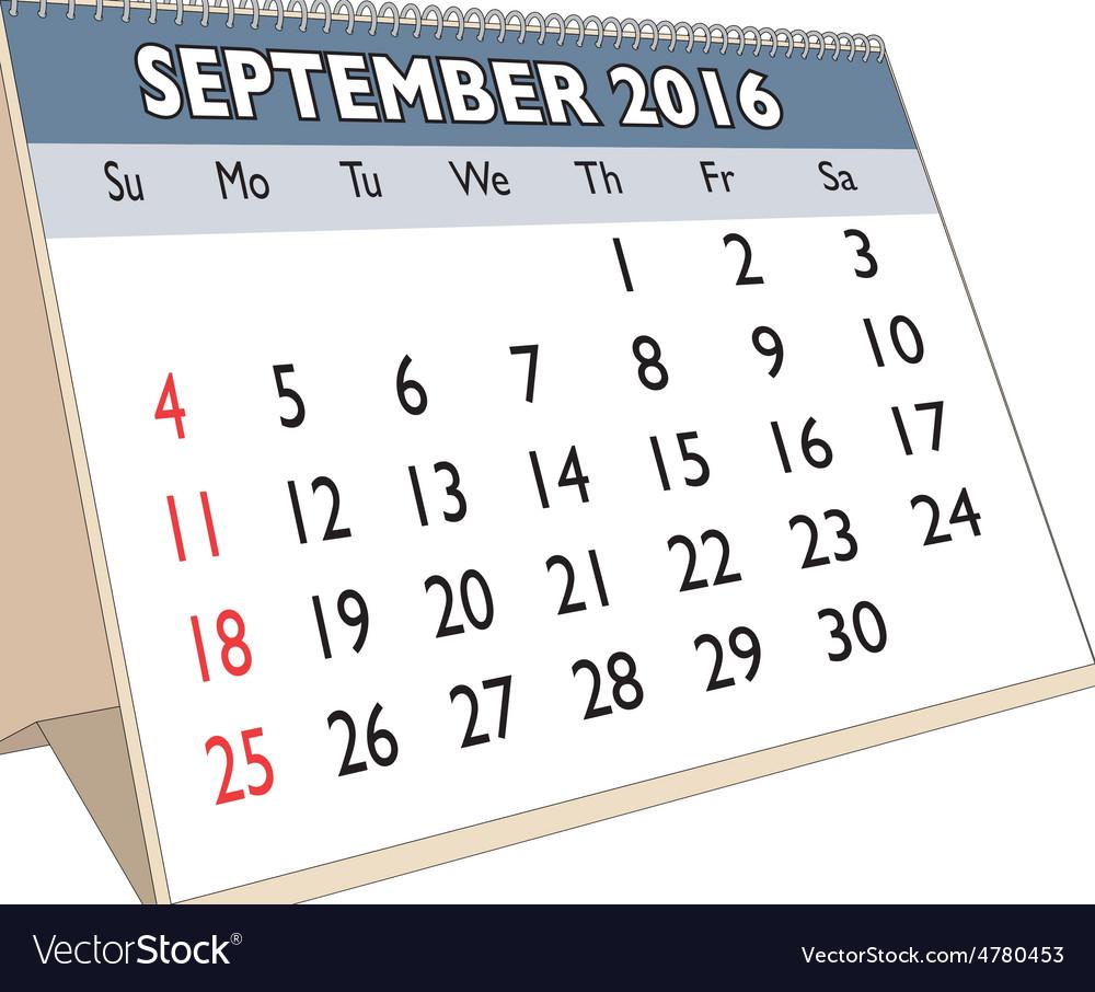 September 2016 vector | Price: 1 Credit (USD $1)