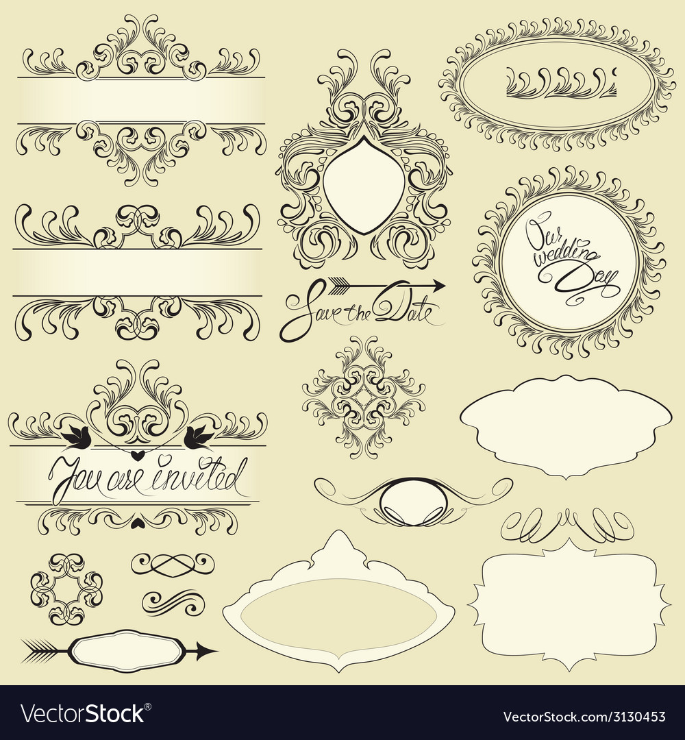 Vintage ornaments and frames vignettes calligraphi vector | Price: 1 Credit (USD $1)