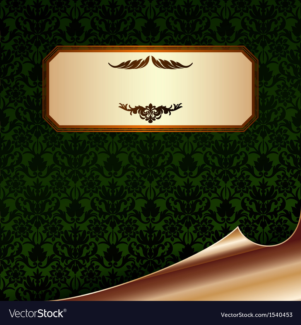 Vintage paper with damask paper and bend corner vector | Price: 1 Credit (USD $1)