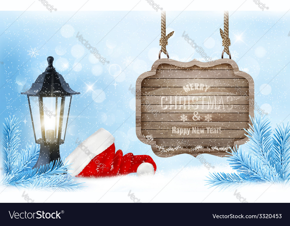 Winter christmas with a sign lantern and a santa vector | Price: 3 Credit (USD $3)
