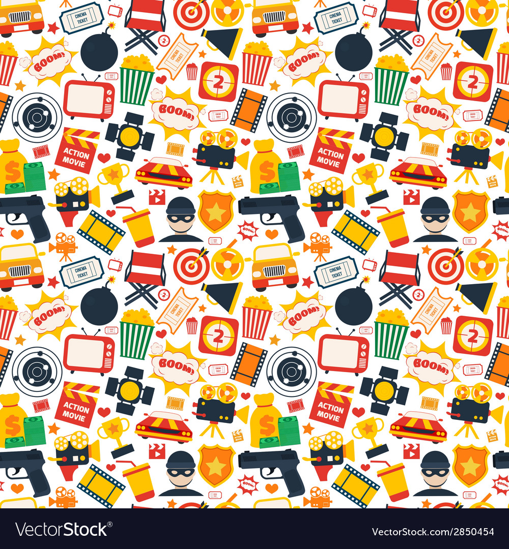 Action movie seamless pattern vector | Price: 1 Credit (USD $1)