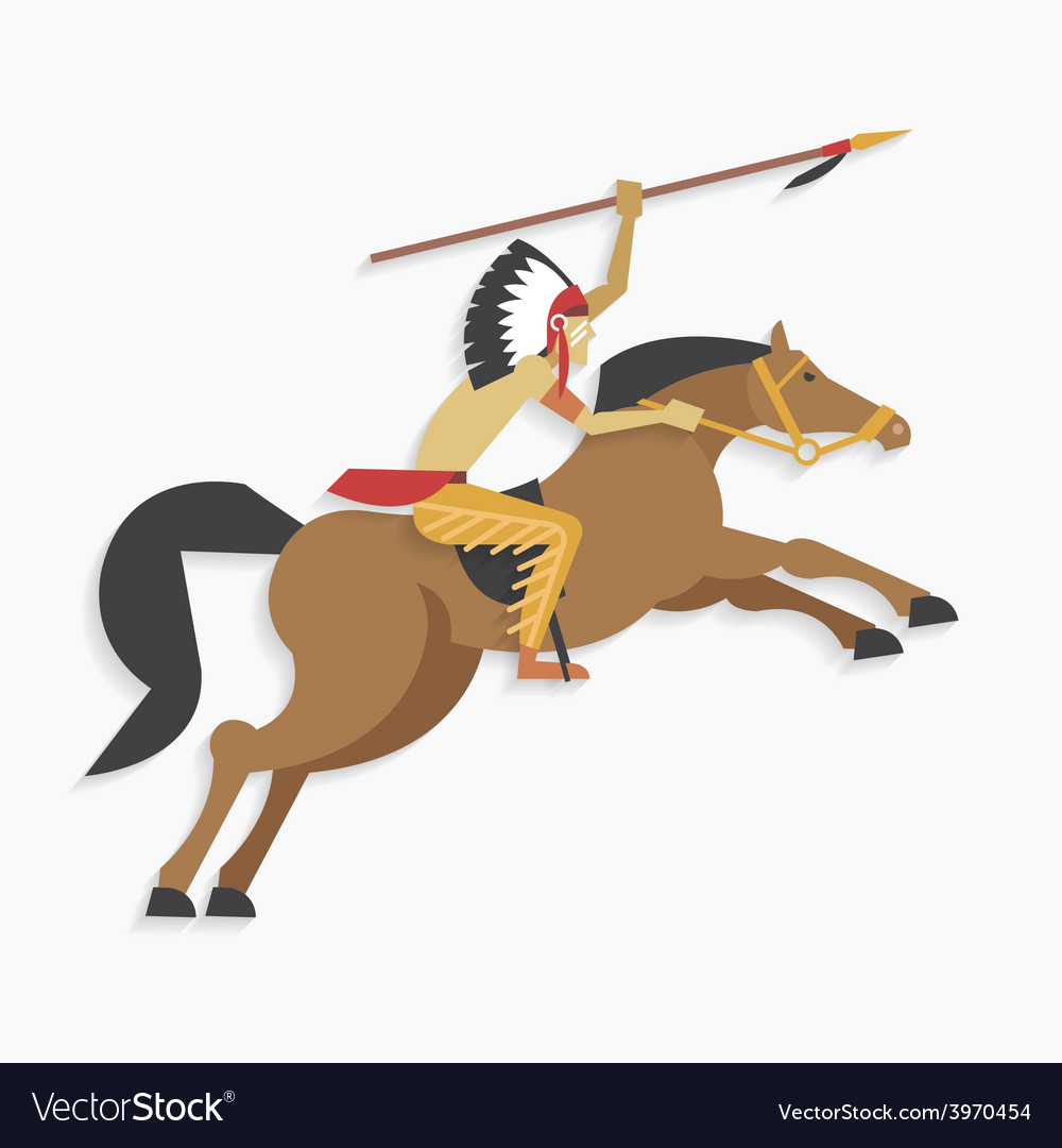 American indian chief with spear riding horse vector | Price: 1 Credit (USD $1)