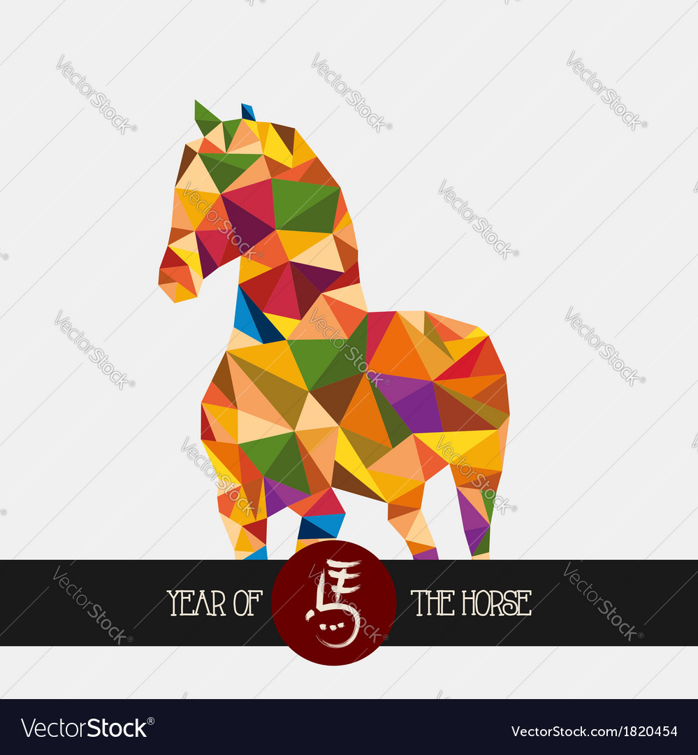 Chinese new year of the horse colorful triangle vector | Price: 1 Credit (USD $1)