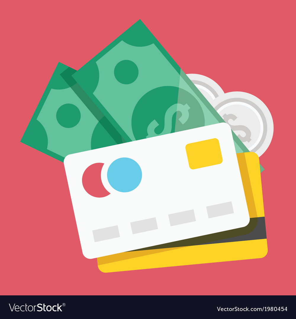 Credit cards and money icon vector | Price: 1 Credit (USD $1)