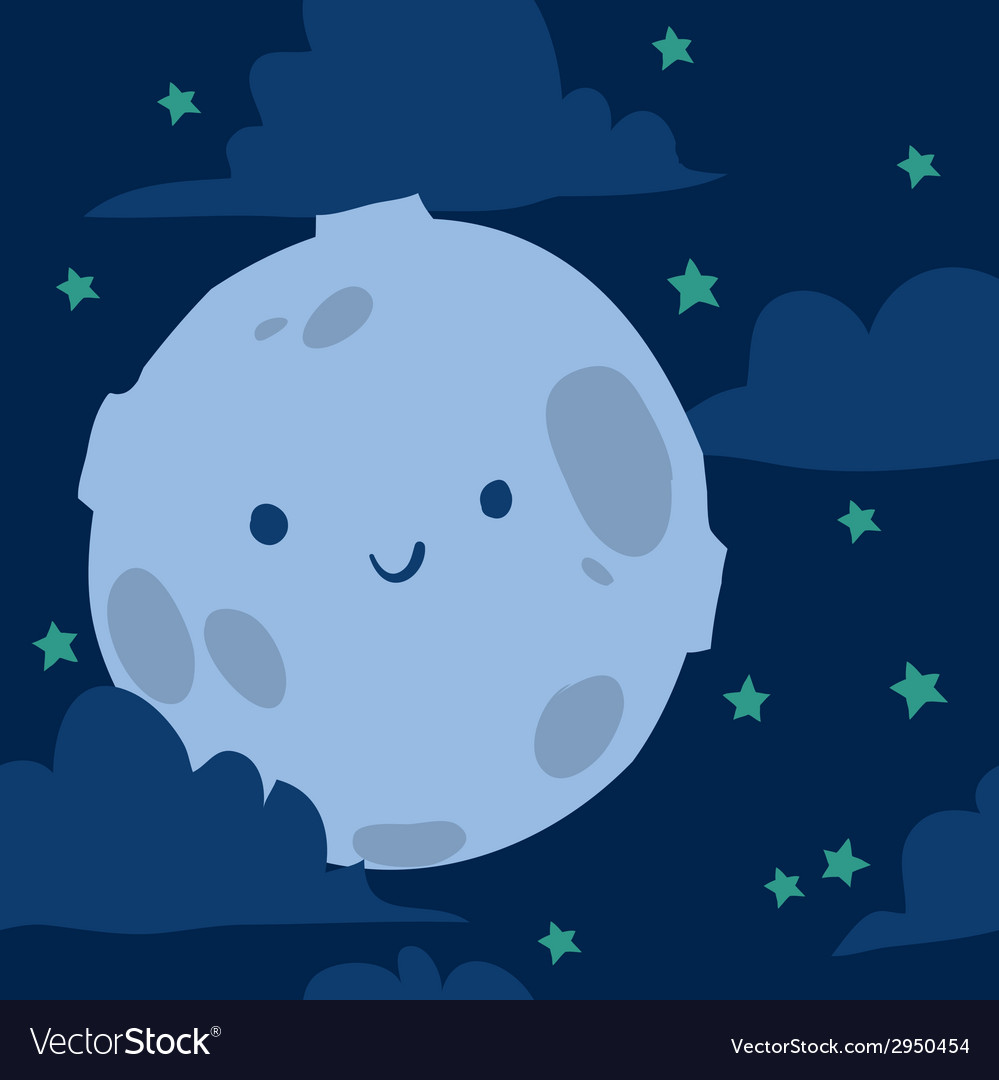 Funny moon with tiny stars seamless background vector | Price: 1 Credit (USD $1)
