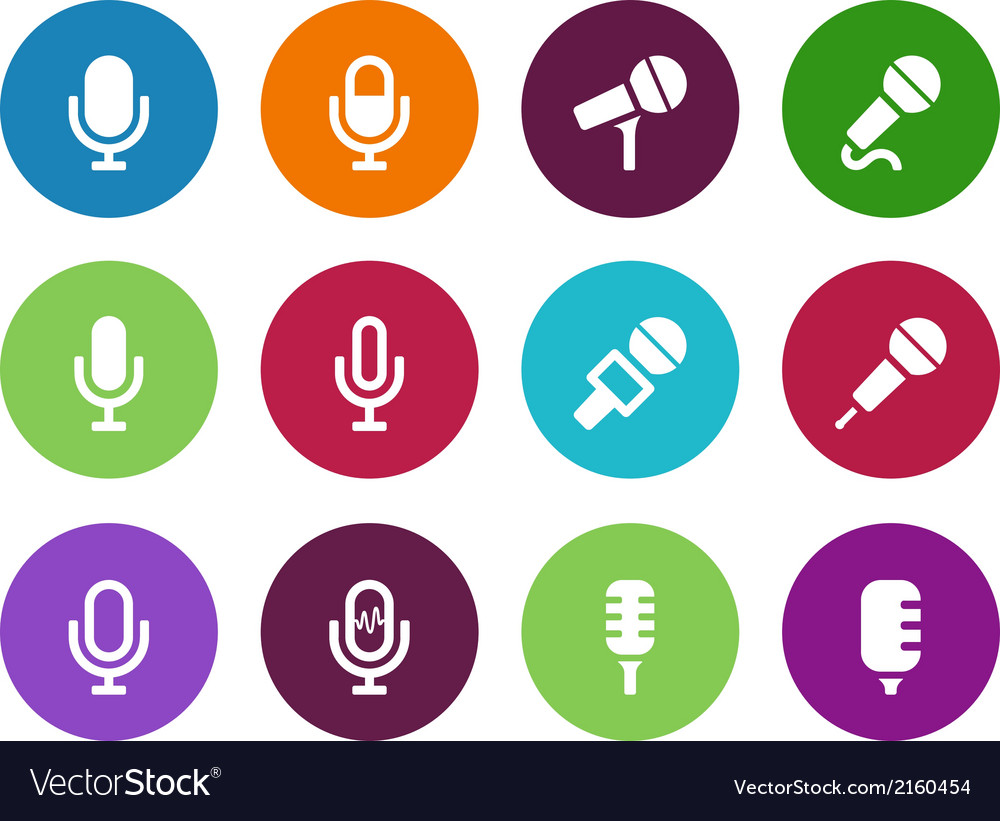 Microphone circle icons on white background vector | Price: 1 Credit (USD $1)