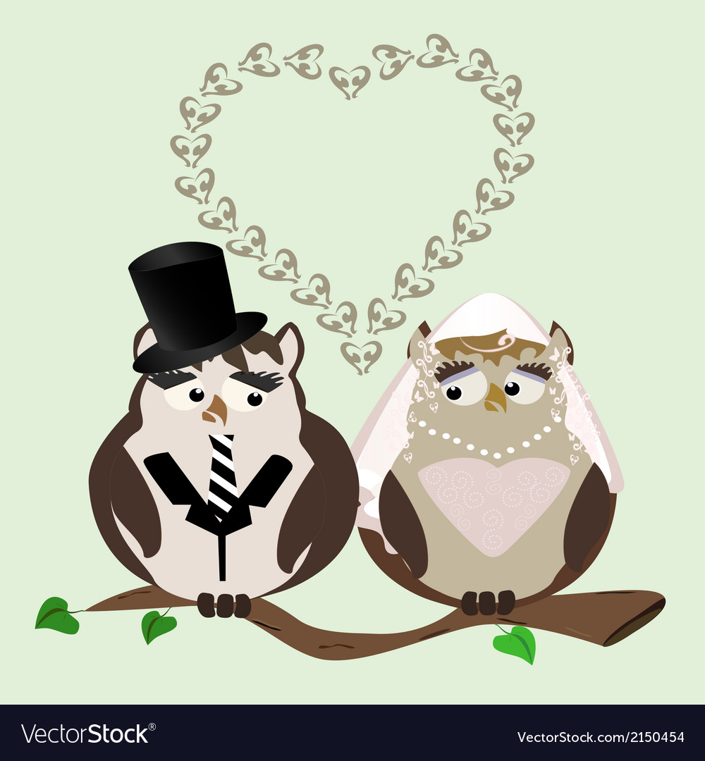 Owl bride and groom vector | Price: 1 Credit (USD $1)