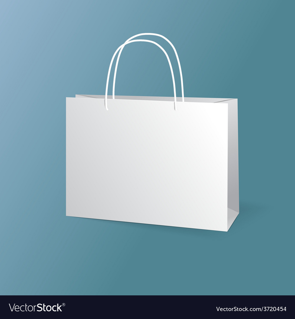 White paper bags set isolated on blue background vector | Price: 1 Credit (USD $1)