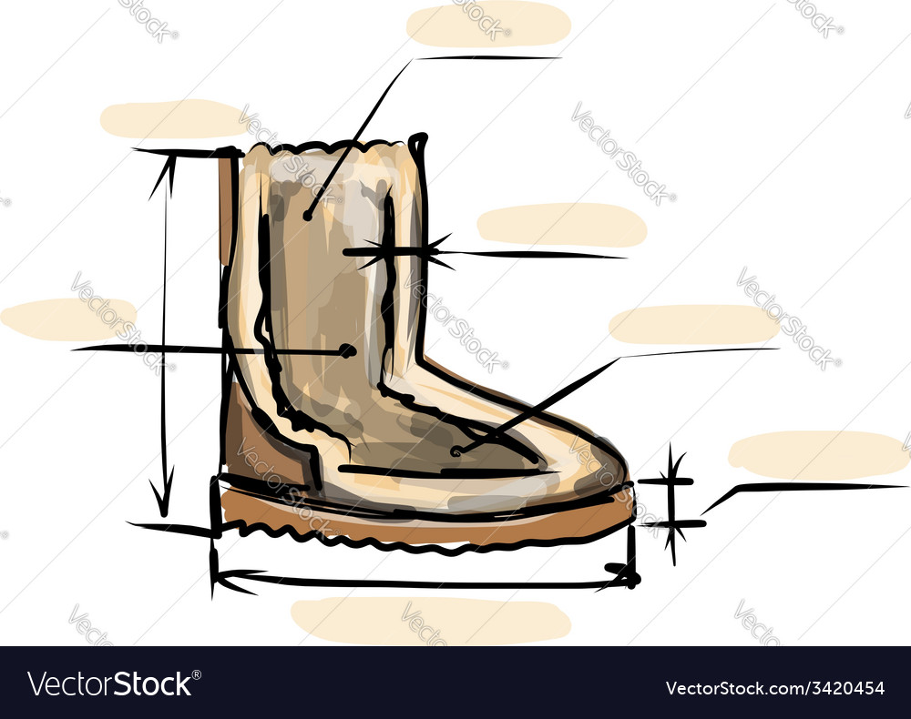 Winter boots ugg sketch for your design vector | Price: 1 Credit (USD $1)