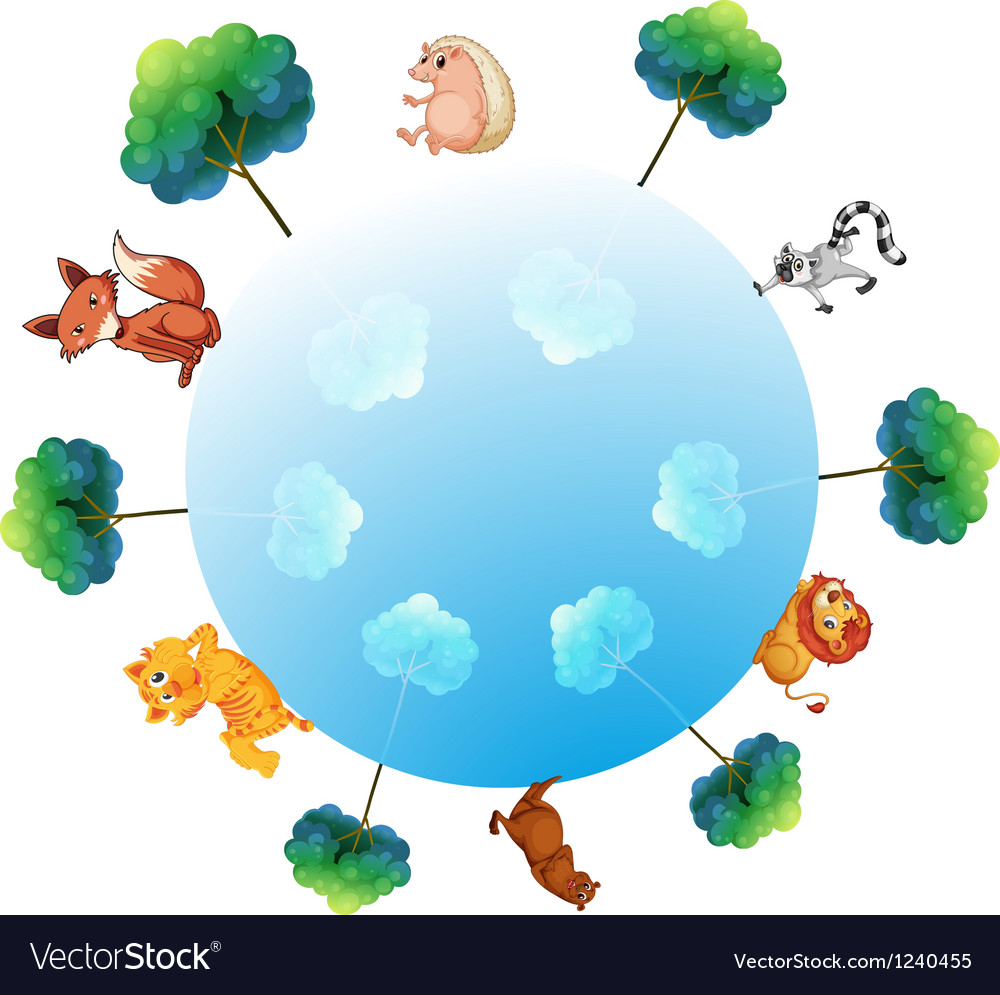 A representation of the earth with animals and vector | Price: 1 Credit (USD $1)