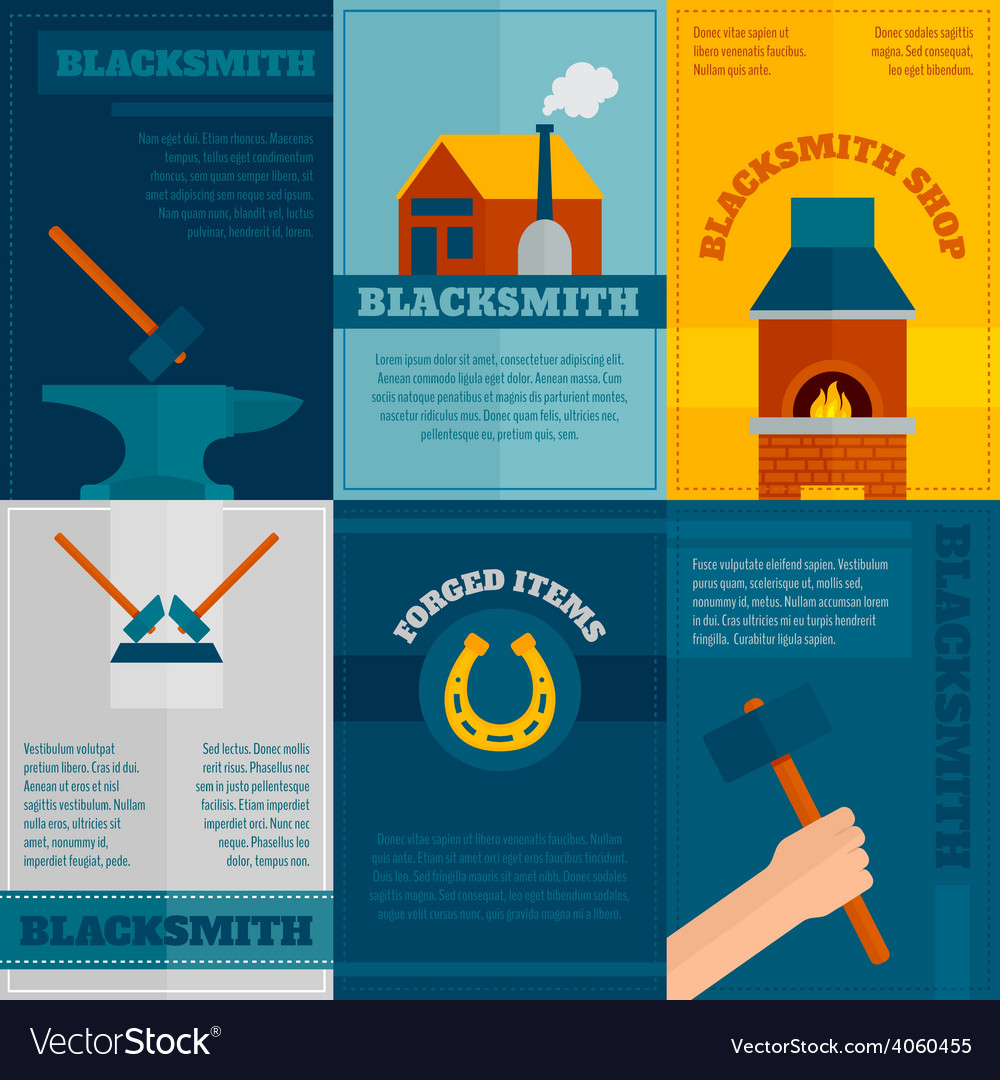 Blacksmith shop flat icons set vector | Price: 1 Credit (USD $1)