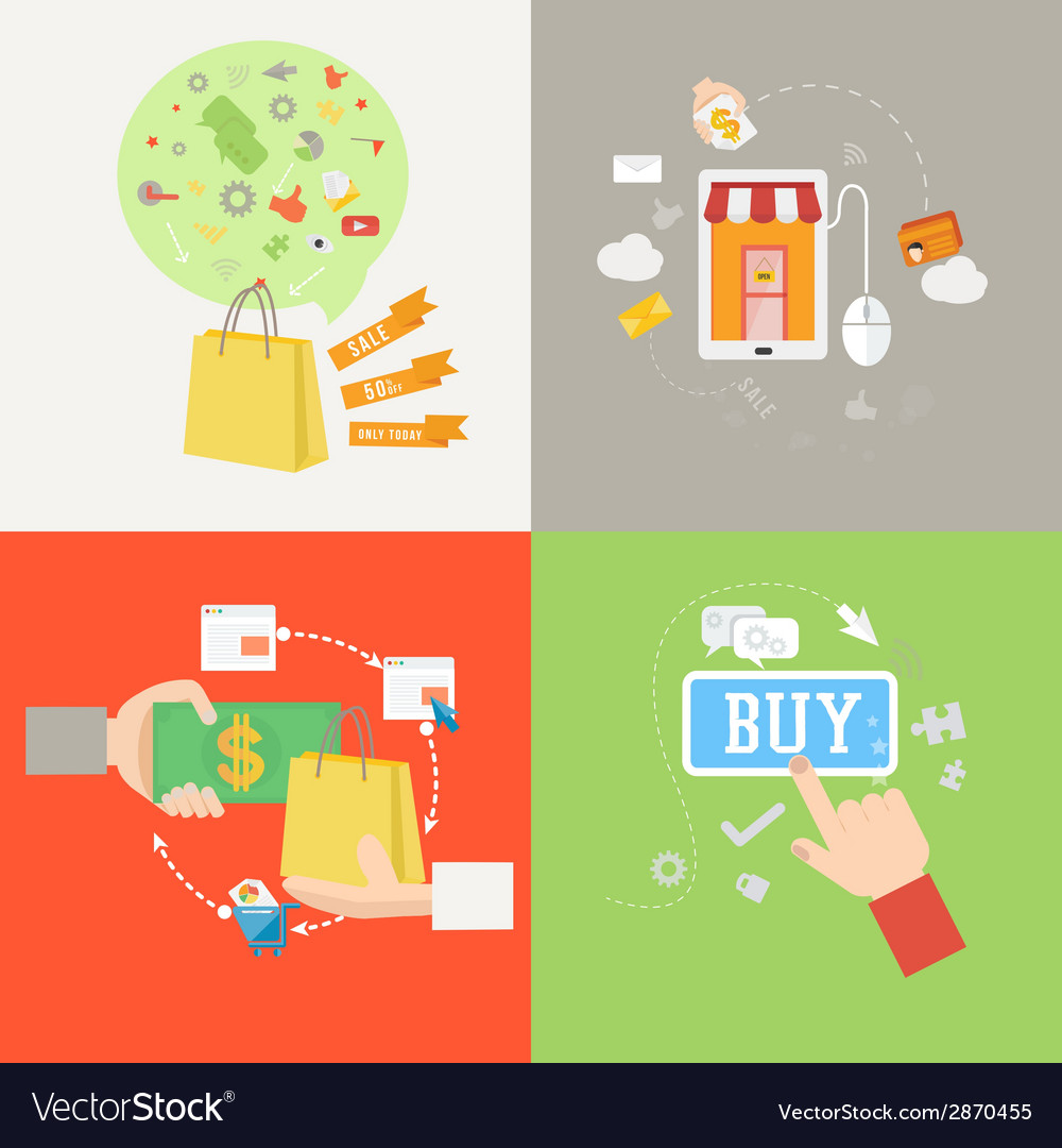 Element of shopping icon in flat design vector | Price: 1 Credit (USD $1)