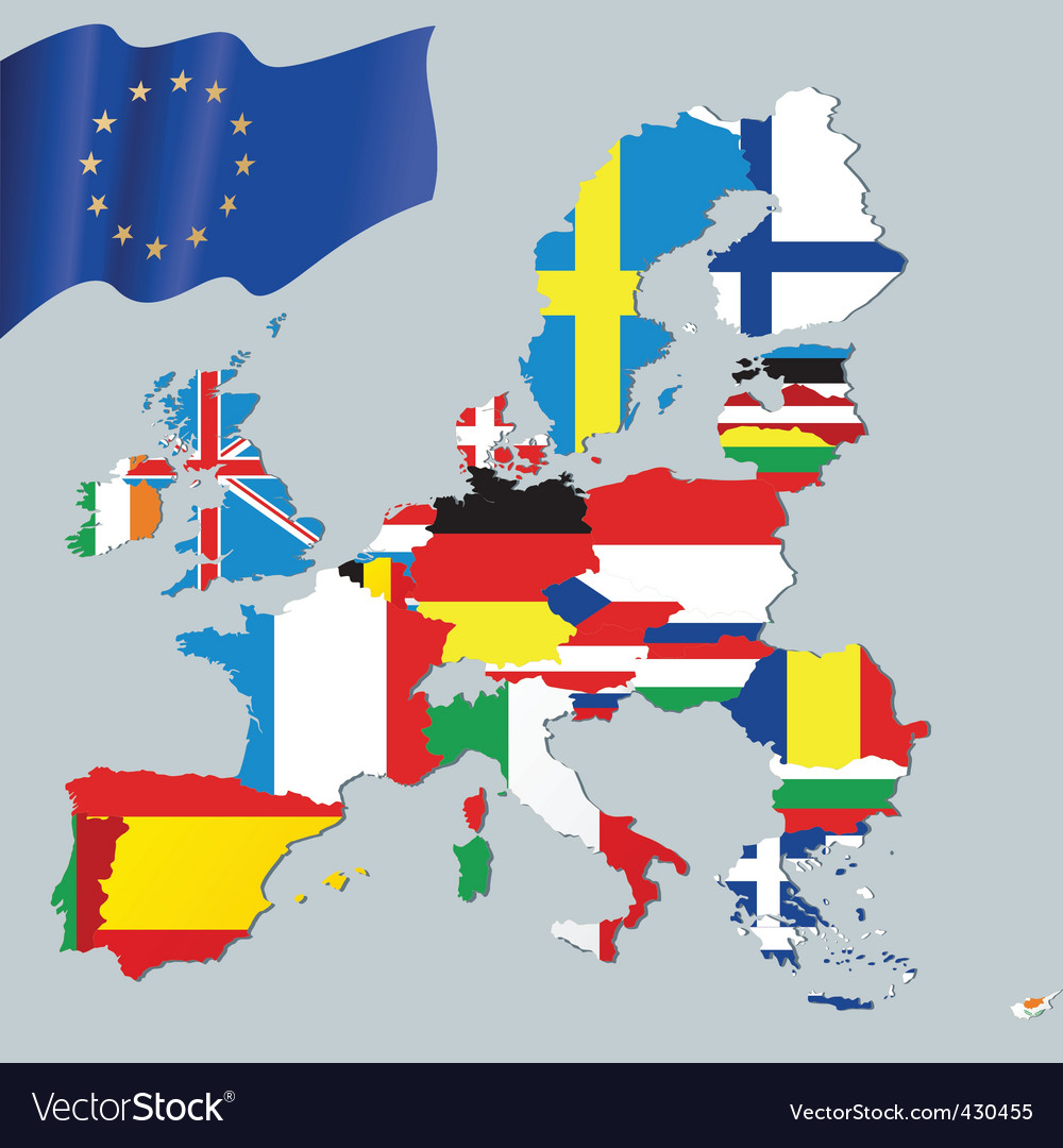 European union and flags vector | Price: 1 Credit (USD $1)