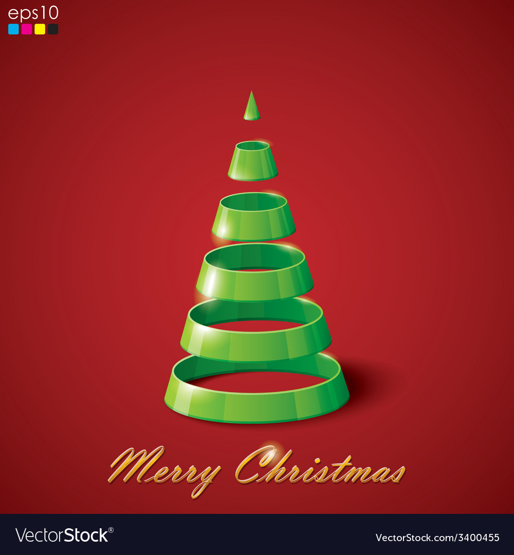 Holiday abstract green christmas tree vector | Price: 1 Credit (USD $1)