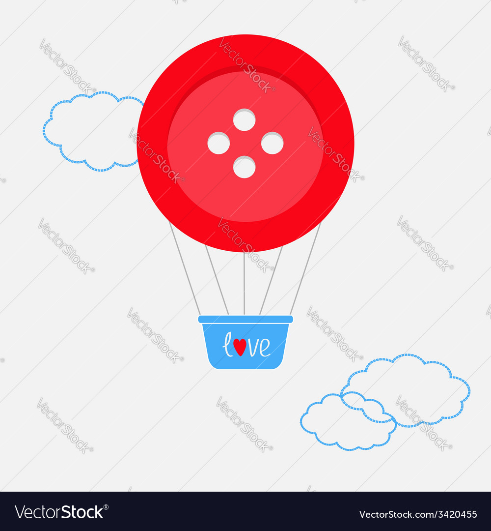 Hot air balloon made of big red button dash line vector | Price: 1 Credit (USD $1)