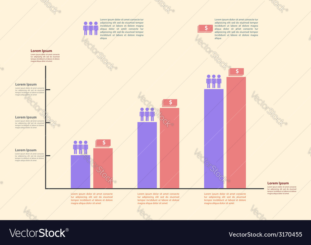 Infographics graph for business and finance vector | Price: 1 Credit (USD $1)