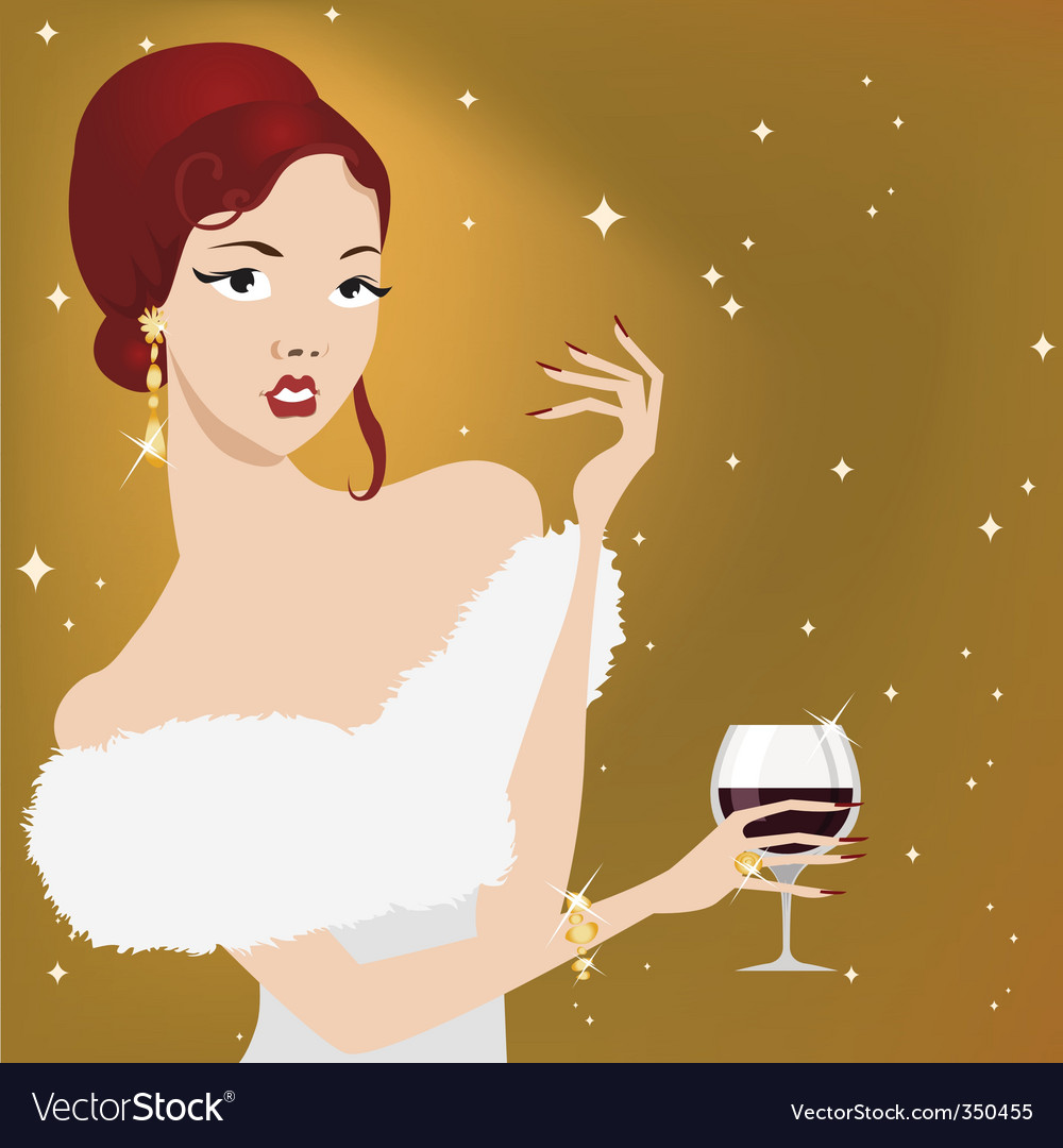 Party woman vector | Price: 3 Credit (USD $3)