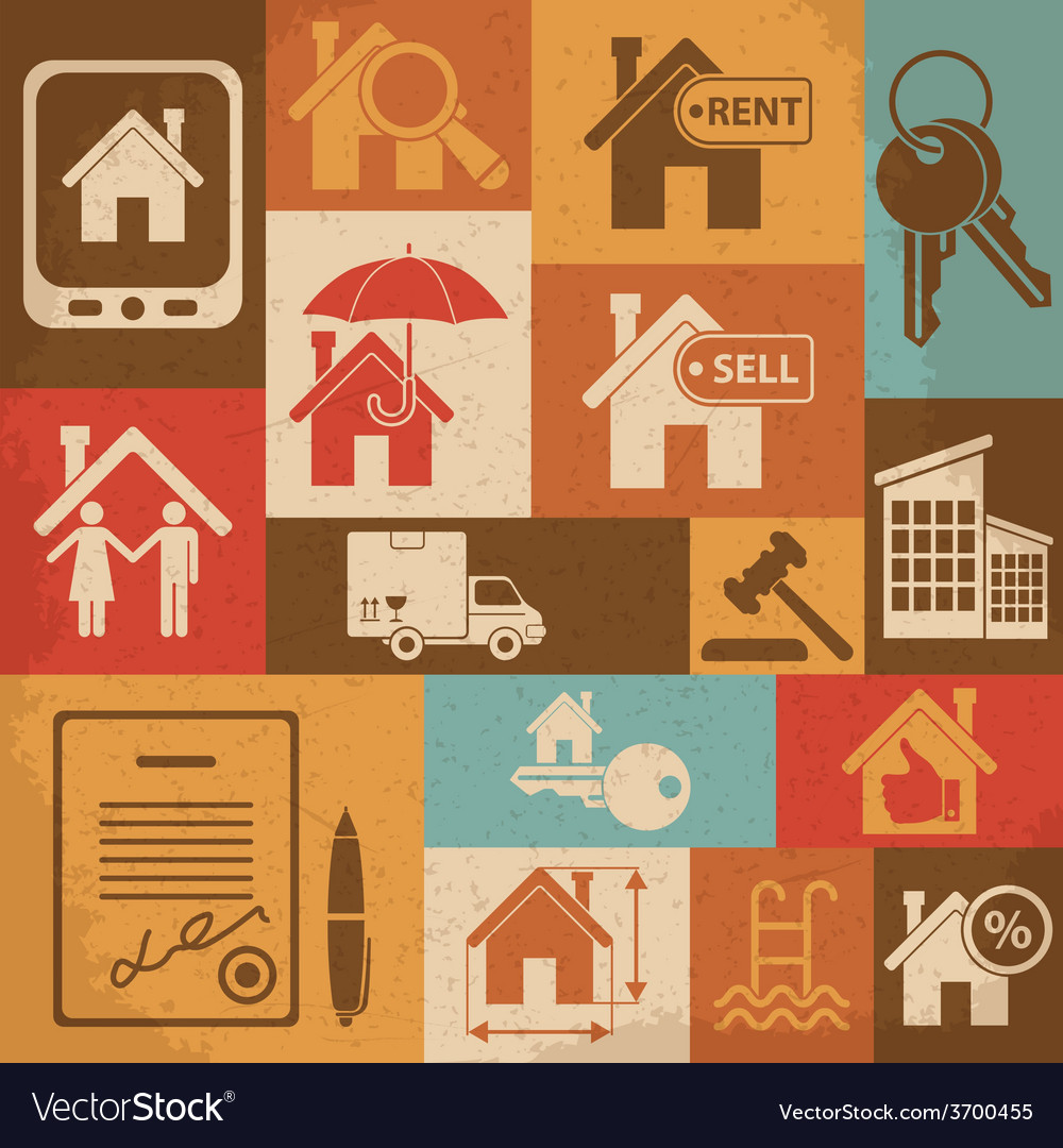 Real estate retro icon set vector | Price: 1 Credit (USD $1)